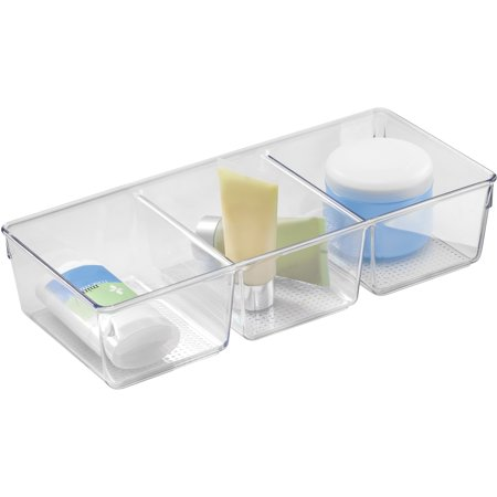 InterDesign Clarity Cosmetic Organizer Tray With 3 Sections for Vanity Cabinet to Hold Makeup, Beauty Products, Clear