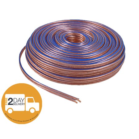 - Car Home Audio Speaker Wire Transparent Clear Cable 14AWG 100ft 14/2 Gauge