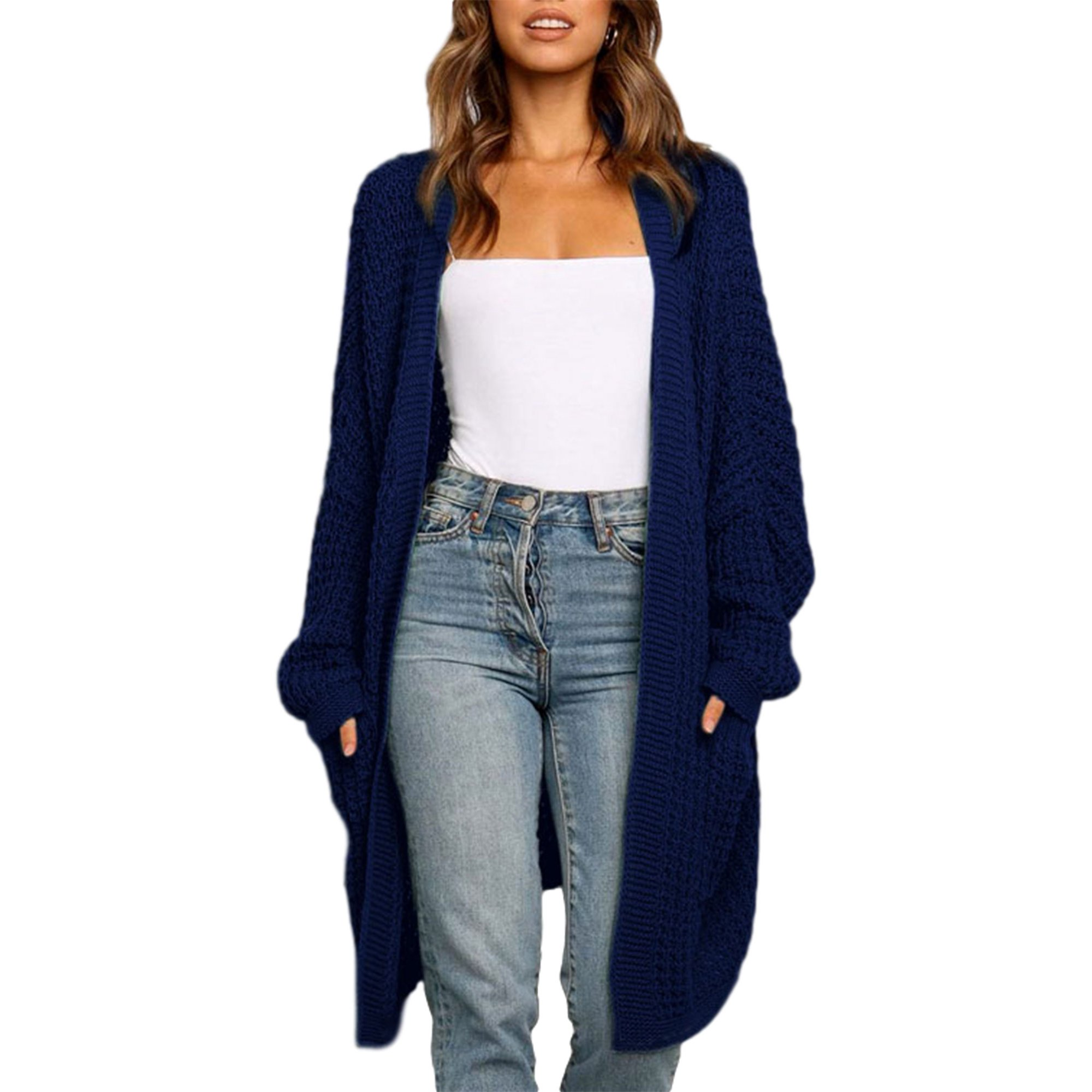 Selfieee Selfieee Women's Loose Open Front Long Sleeve Knit Cardigans Sweater Blouses with Packets 20258 Navy Blue Small
