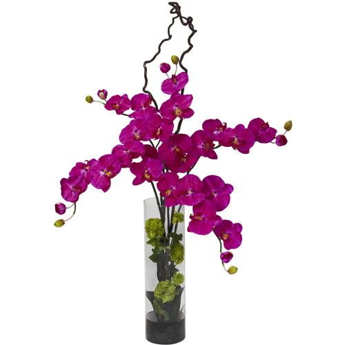 Giant Phalaenopsis & Hydrangea Silk Flower Arrangement, Orchid