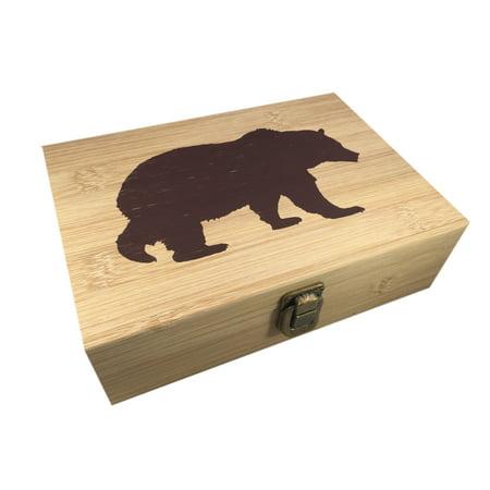 Bear Design Bamboo Wood All Purpose Cigar Storage Stash Box -8.5 x 6 x 2.5 Inches