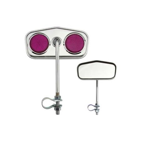 Diamond Mirror Chrome Purple Reflectors. Bike mirror, bicycle mirror for lowrider , beach cruiser, bmx, track,