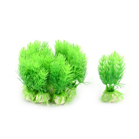 Aquarium Fish Tank Ceramic Base Plastic Grass Plant Green White 10pcs