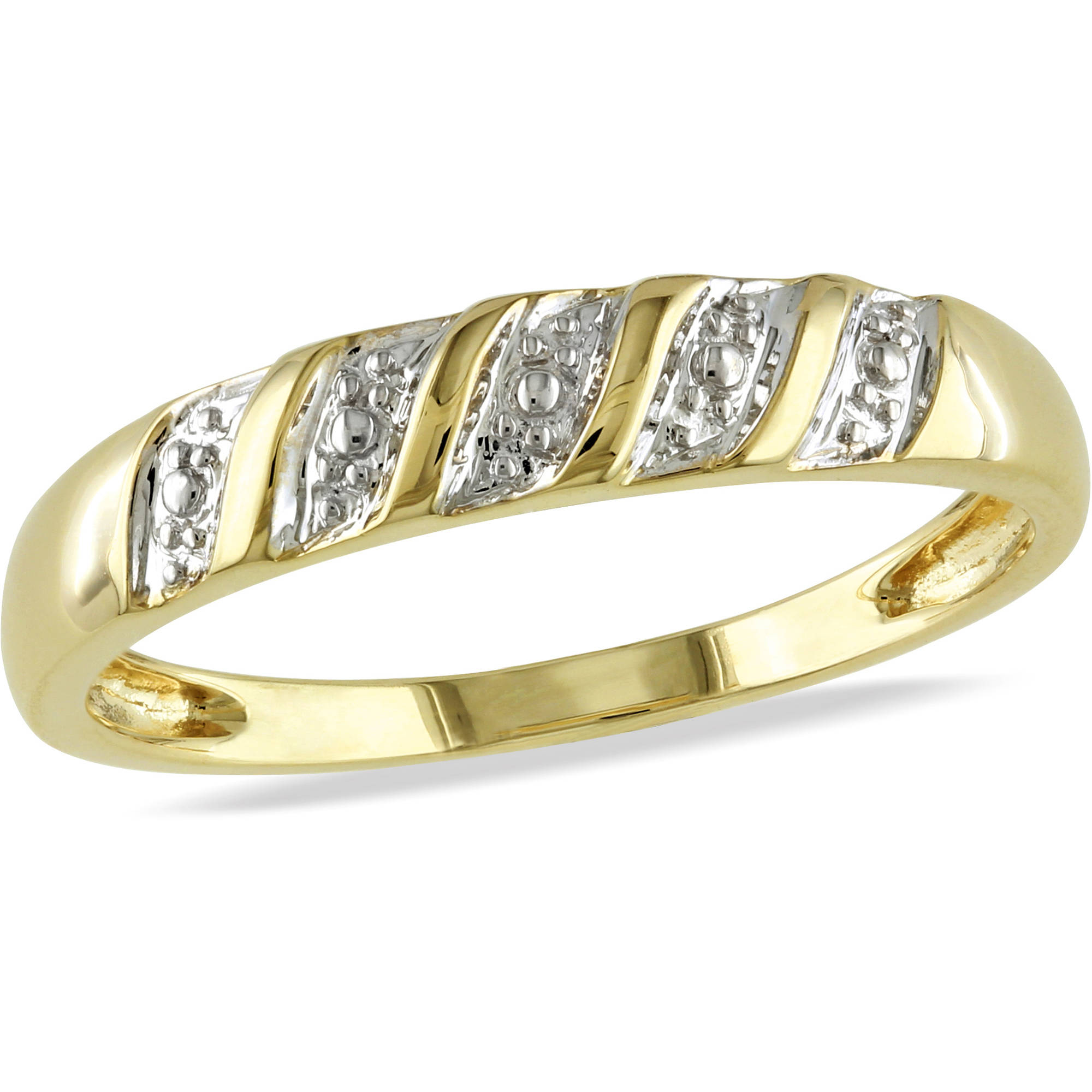 Miabella Men's 10kt Two-Tone Gold Diamond Illusion Wedding Band