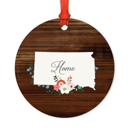 Us State Round Metal Christmas Ornament  Rustic Wood With Florals Home  South Dakota  Includes Ribbon And Gift Bag