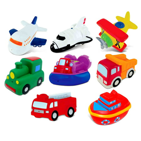Toddler Bathtime Learning Toy Dollibu Bath Buddies Vehicles Rubber Squirter Toys - Boats, Ships, Fire Truck, Train, Space Shuttle (8pc Set)