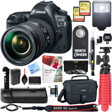 - Canon EOS 5D Mark IV 30.4 MP Full Frame CMOS DSLR Camera + EF 24-105mm f/4L IS II USM Lens + Accessory Bundle