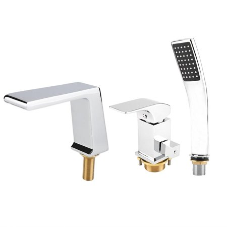WALFRONT 3Pcs 9/16  Deck Mounted Chrome Brass Bathtub Waterfall Faucet Square Handheld Shower , Square Handheld Shower,Waterfall Faucet Classic Deck Mounted Bath Shower