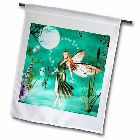 3dRose Fairy Mist 2 with Moon and Dragonflies, Garden Flag,