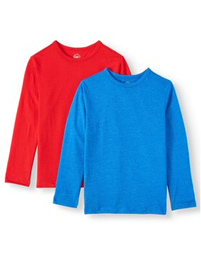 Wonder Nation Long Sleeve Solid T-Shirt, 2-Pack (Little Boys, Big Boys, & Husky)