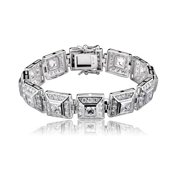 Collette Z  Sterling Silver Cubic Zirconia Bracelet With Cuff Style
