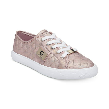 G by Guess Women's Backer2 Lace Up Leather Quilted Pattern Sneakers Shoes Pink (Pink Quilted Leather)