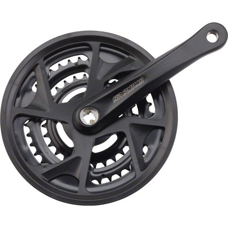 - SR Suntour XR-T Crankset: 8-speed, 48/38/28t, 170mm, Square Taper, Black