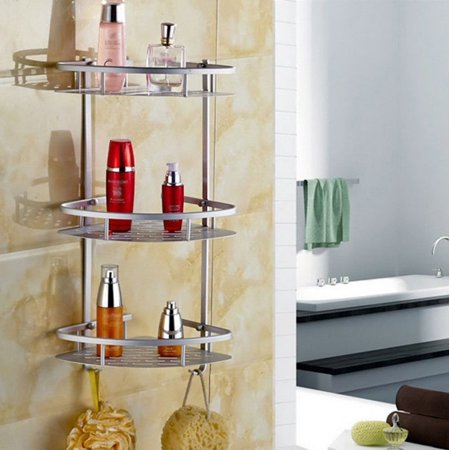 3 Tier Shampoo Basket Shower Shelf Bathroom Corner Rack Storage Holder Hanger For Towels