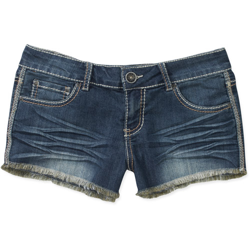 Red Rivet Juniors' Denim Shorts with Faux Leather Pocket Embellishment