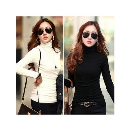 Topumt Women Turtleneck Soft Long Sleeve T-Shirt Stretch Cotton Base Shirts Tops Blouse