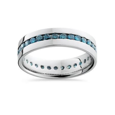 1 1/5ct Blue Diamond Channel Set Eternity Ring 14K White Gold Heat Treated