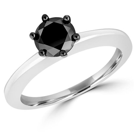 Majesty Diamonds MDR170038-4 1.05 CT Round Black Diamond 6 Prong Solitaire Engagement Ring in 10K White Gold - 4