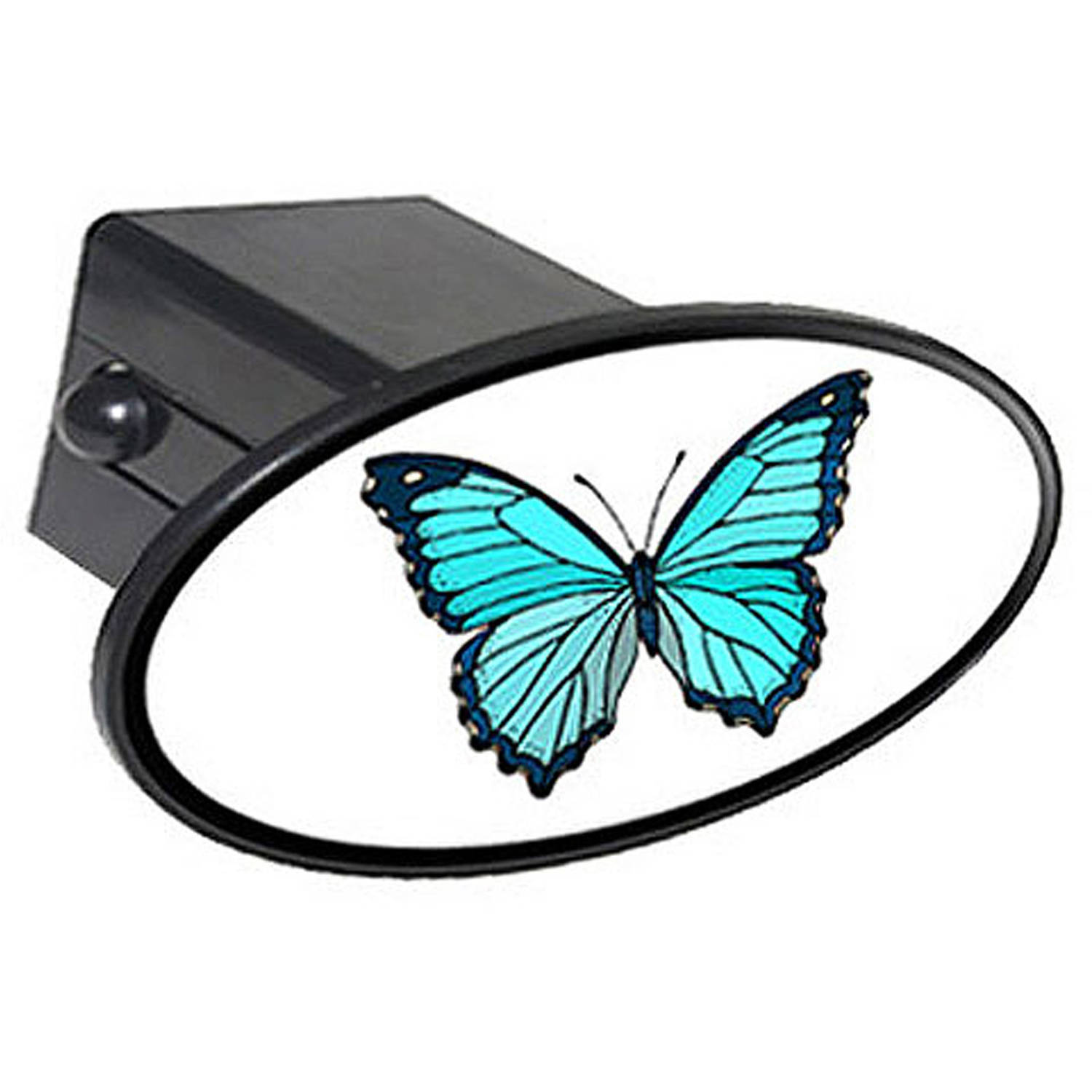 "Butterfly Teal Blue 2"" Oval Tow Trailer Hitch Cover Plug Insert"
