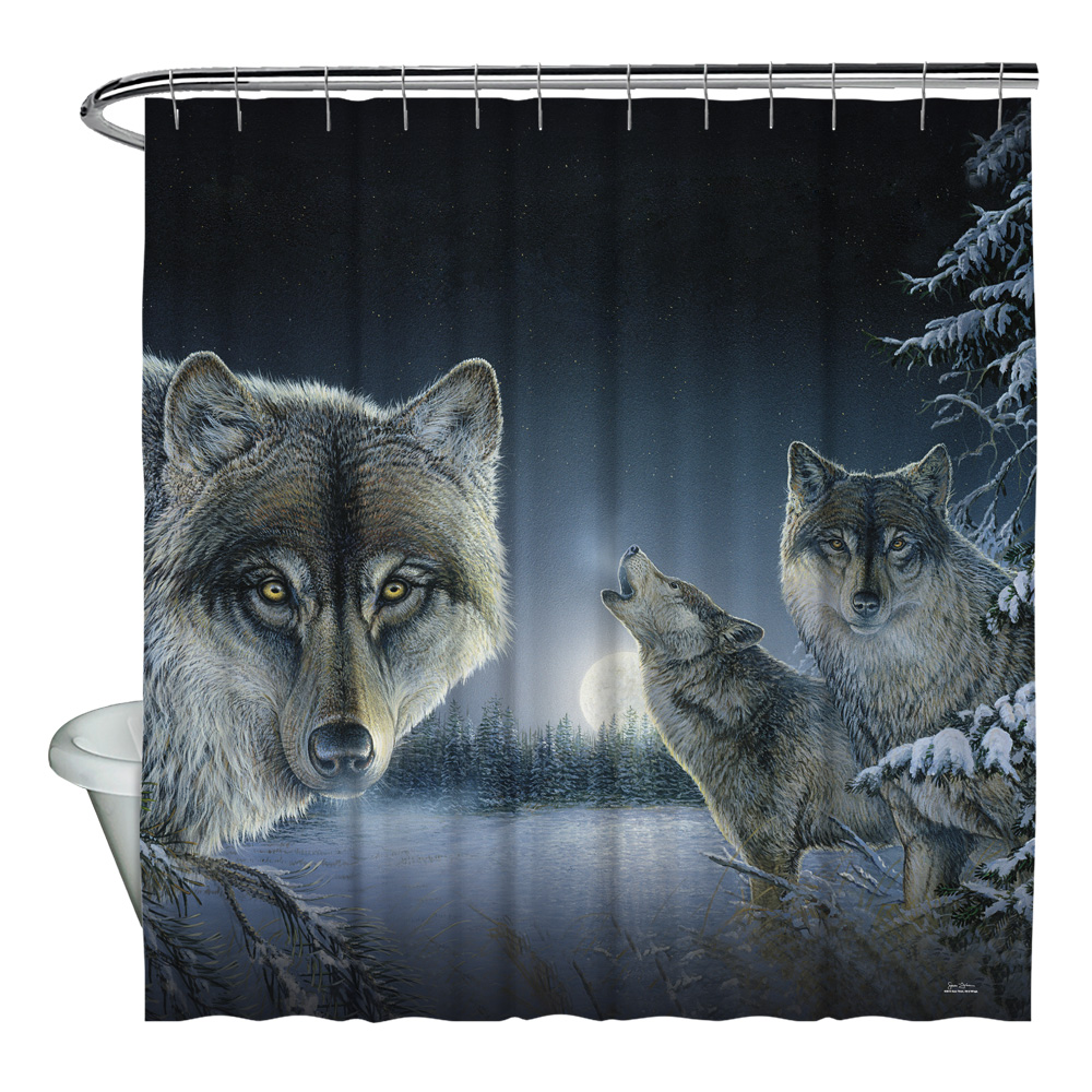 Wild Wings Midnight Wolves 2 Shower Curtain White 71X74