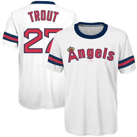 promo code ac8e4 02fbe Mike Trout Los Angeles Angels Majestic Youth Sublimated Cooperstown  Collection Jersey T-Shirt - White - Walmart.com