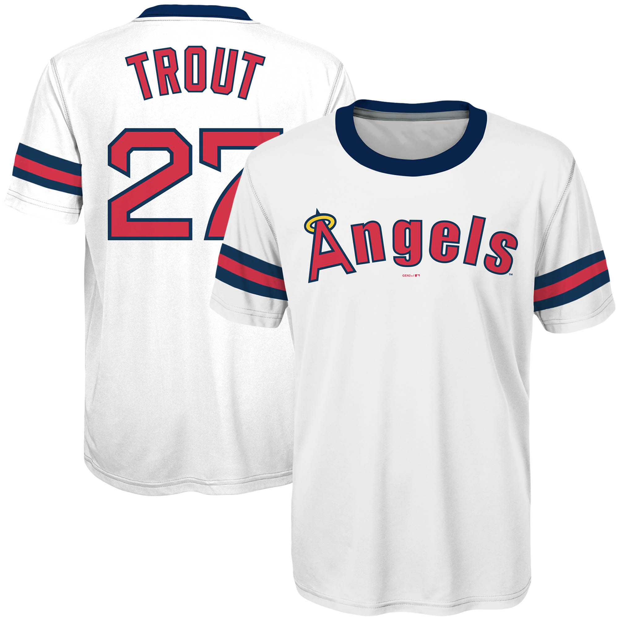Mike Trout Los Angeles Angels Majestic Youth Sublimated Cooperstown Collection Jersey T-Shirt - White