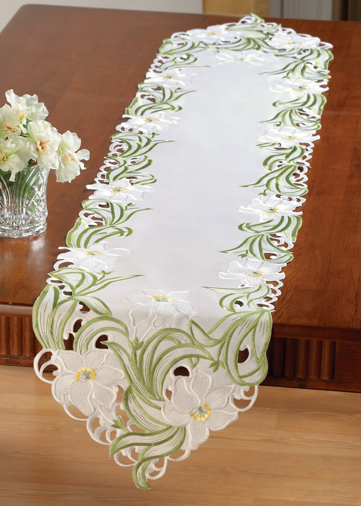 Lily Floral Embroidered Table Linens Runner, Runner, Runner by Collections Etc