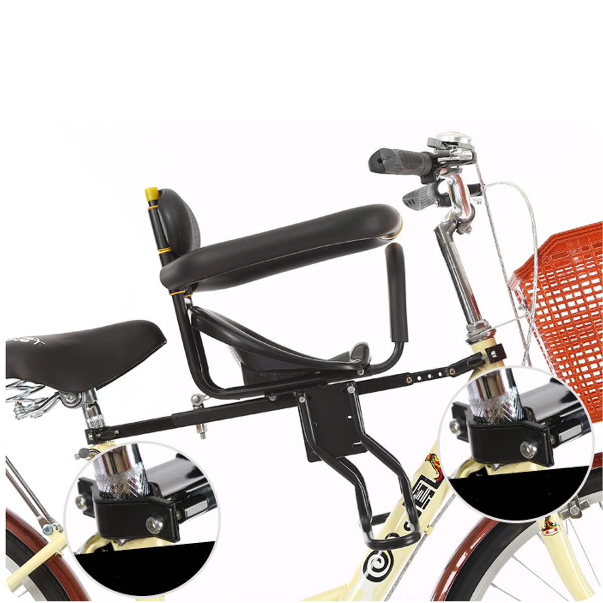 Bicycle Seat Safety Child Bike Front Seat Thickened Padded Saddle+Foot Pedals US