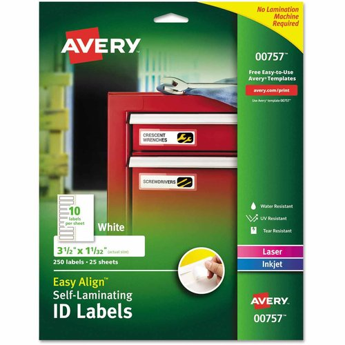 "Avery Durable Self-Laminating ID Labels, Laser/Inkjet, 1-1/32"" x 3-1/2"", White, 250-Pack"