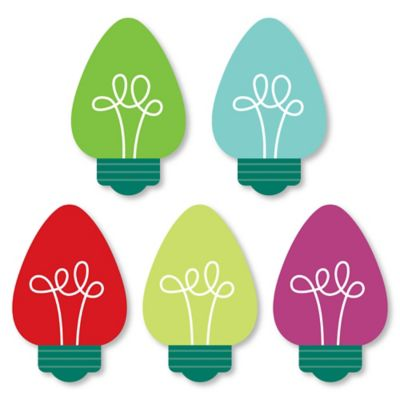 Christmas Light Bulbs - DIY Shaped Holiday Party Cut-Outs - 24 Count ()
