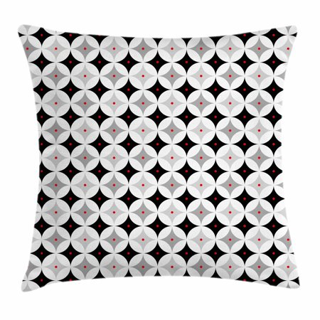 Mid Century Throw Pillow Cushion Cover, Retro Styled Atomic Composition with Vintage Diamond Line Pattern, Decorative Square Accent Pillow Case, 16 X 16 Inches, Pale Grey Black Red, by Ambesonne