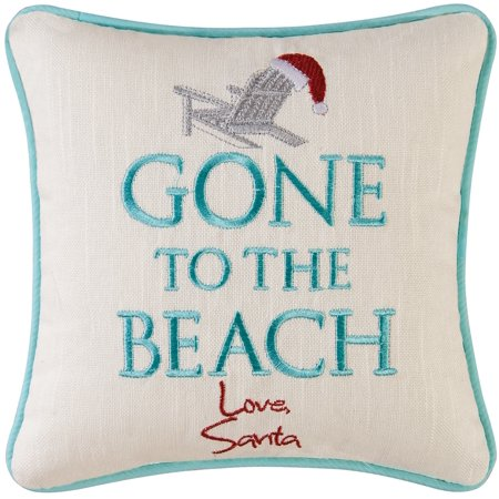 Santa Gone to the Beach Accent 10 Inch Coastal Holiday Square Throw Pillow ()