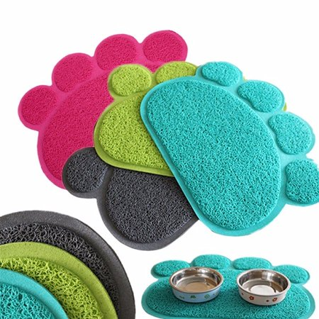 Dog Puppy Paw Shape Placemat Pet Cat Dish Bowl Feeding Food Pvc Mat Wipe Clean Grey Color