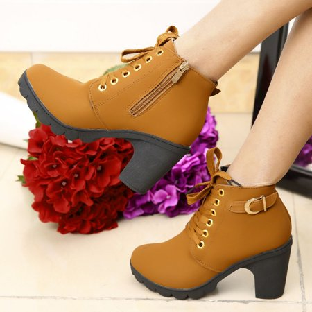 (3 Colors New Fashion Girl Women High Top Heel Lace Up Buckle Ankle Boots Winter Pumps Suede Shoes Hot Sale brown)