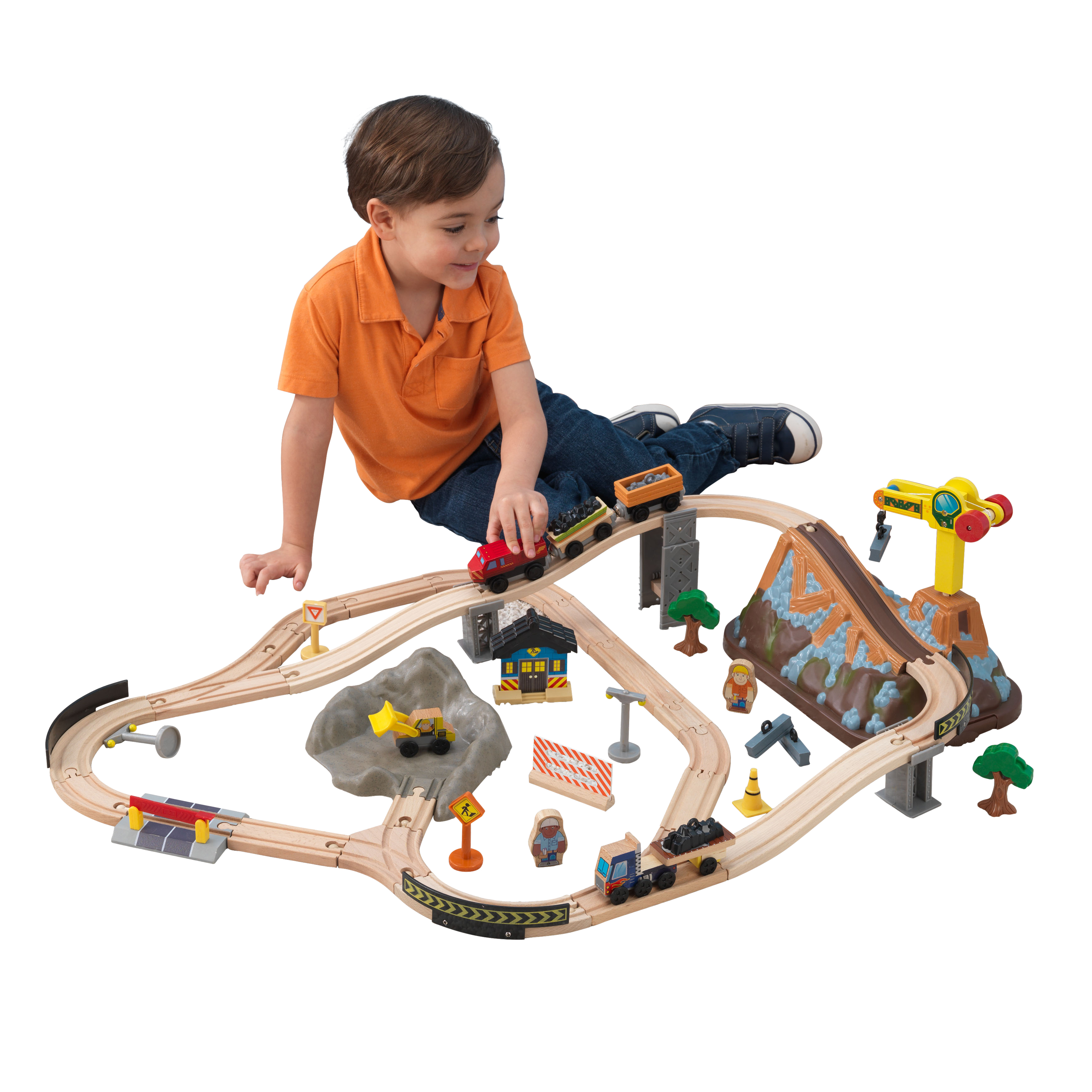 KidKraft Bucket Top Construction Train Set with 61 accessories included