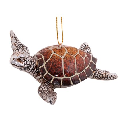 Coastal Sea Turtle Swimming Resin Christmas Holiday Ornament