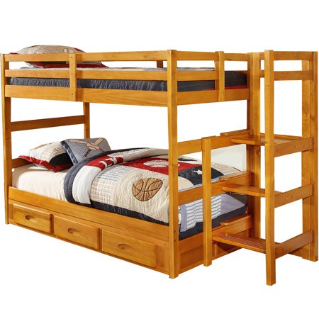 Cambridge Franklin Twin Over Twin Easy Step Bunk Bed With 3 Drawer Storage