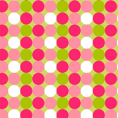 "Big Dots Pink/Green Anti-Pill Polyester Fleece by the Yard, 60"" wide"