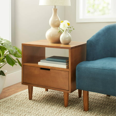 Better Homes And Gardens Flynn Mid Century Modern Side Table Pecan