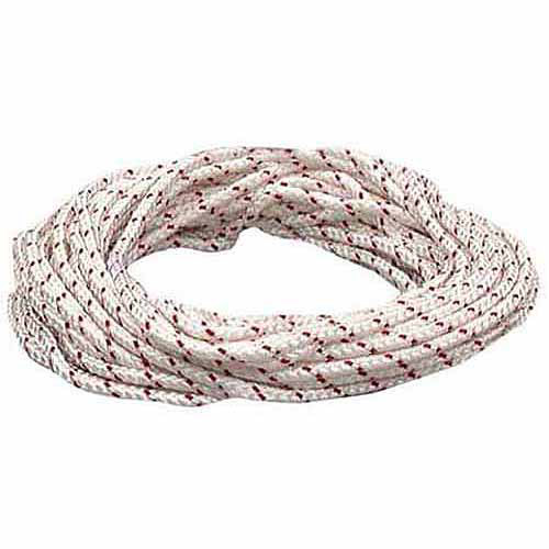 Lehigh Group BPE850W 50' White and Red Polypropylene Diamond Braid Rope