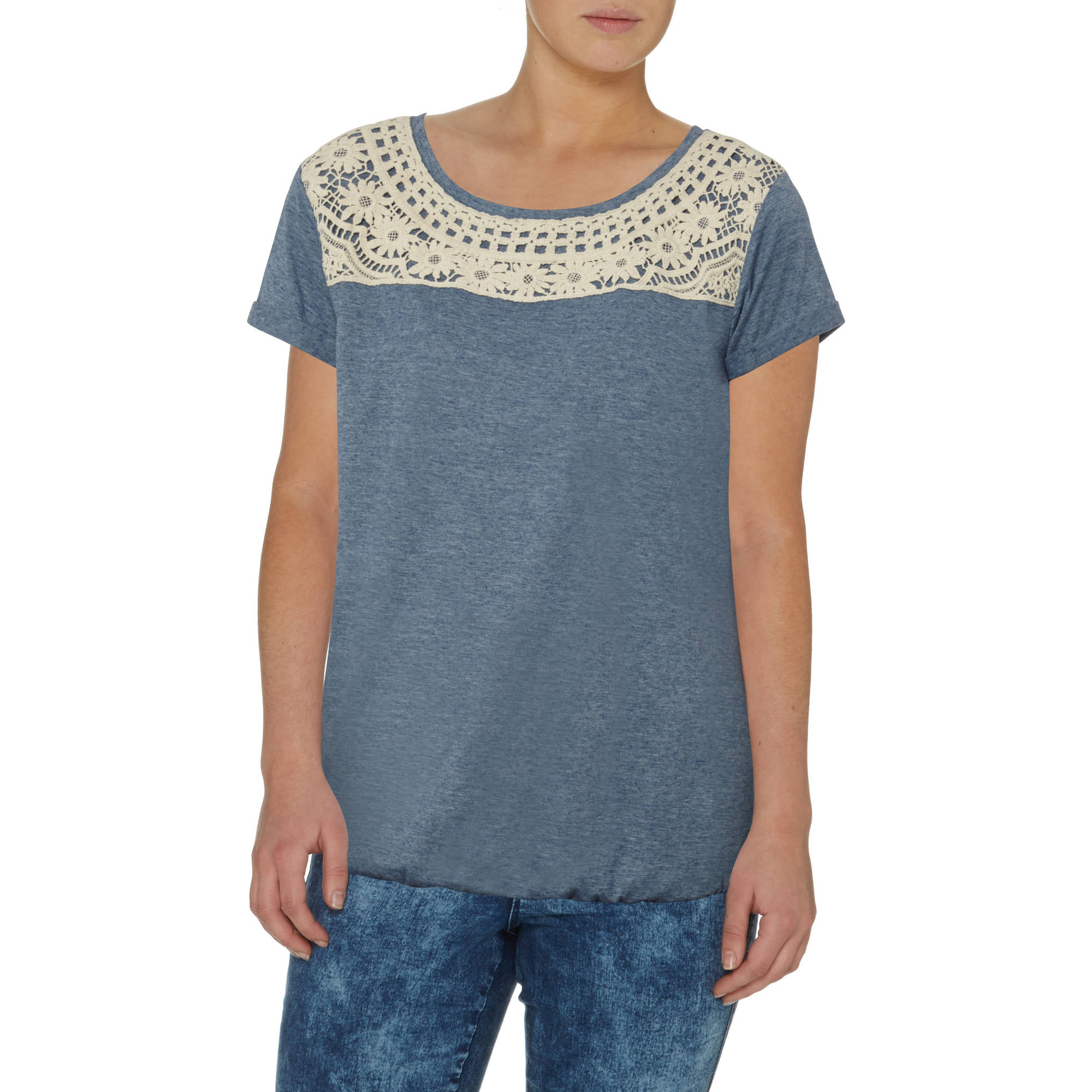 George UK Women's Crochet-Trim Blouse T-Shirt