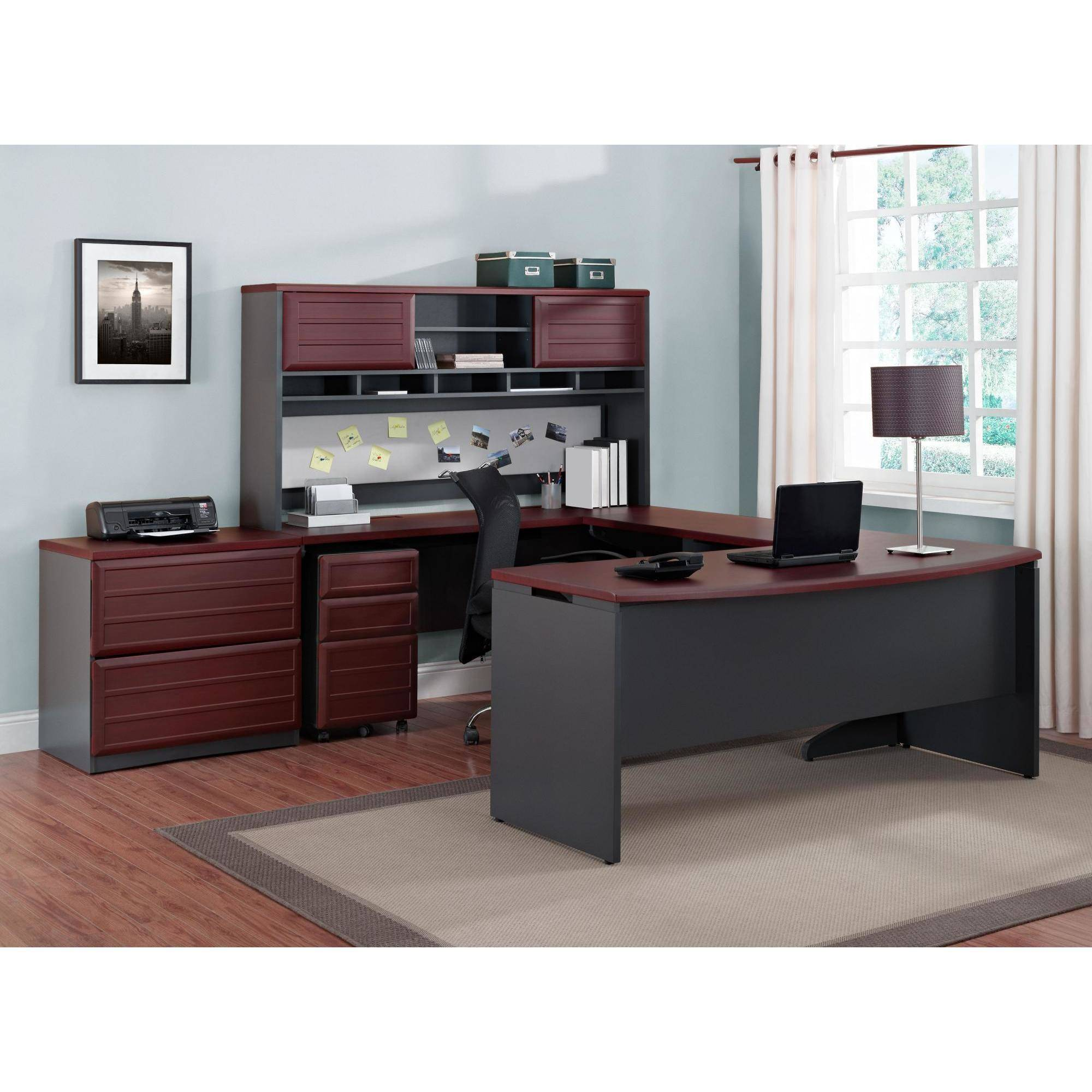 Ameriwood Home Pursuit Executive Desk, Cherry/Gray   Walmart.com