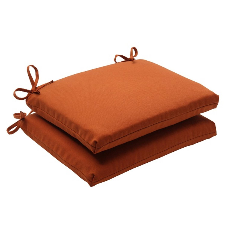 Set of 2 Cinnamon Burnt Orange Outdoor Patio Square Seat Cushions 18.5