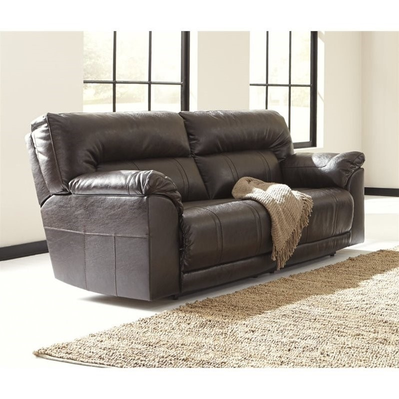 Ashley Furniture Barrettsville Leather Reclining Sofa In Chocolate