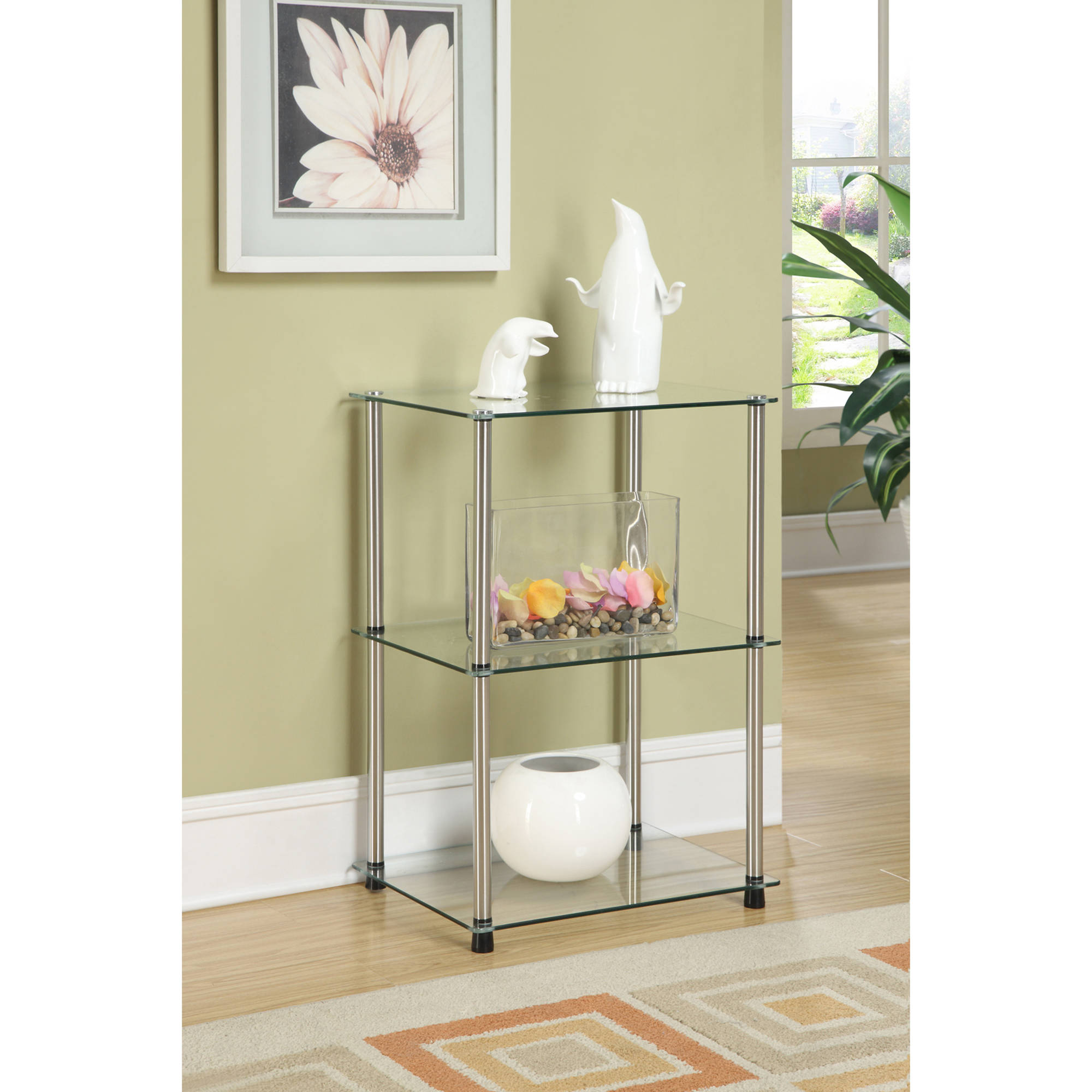 Convenience Concepts Designs2Go Classic Three Tier End Table, Metal and Glass