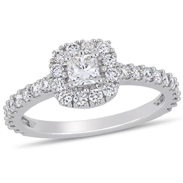Miabella 1 Carat T W Cushion Cut Diamond 14kt White Gold Square Halo Engagement Ring Walmart Com Walmart Com