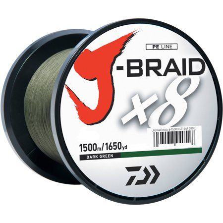 Daiwa J-BRAID x8 Braided Fishing Line (DARK GREEN) 10lb, 1650yd/1500M Bulk Spool - JB8U10-1500DG (Daiwa Tournament Line)