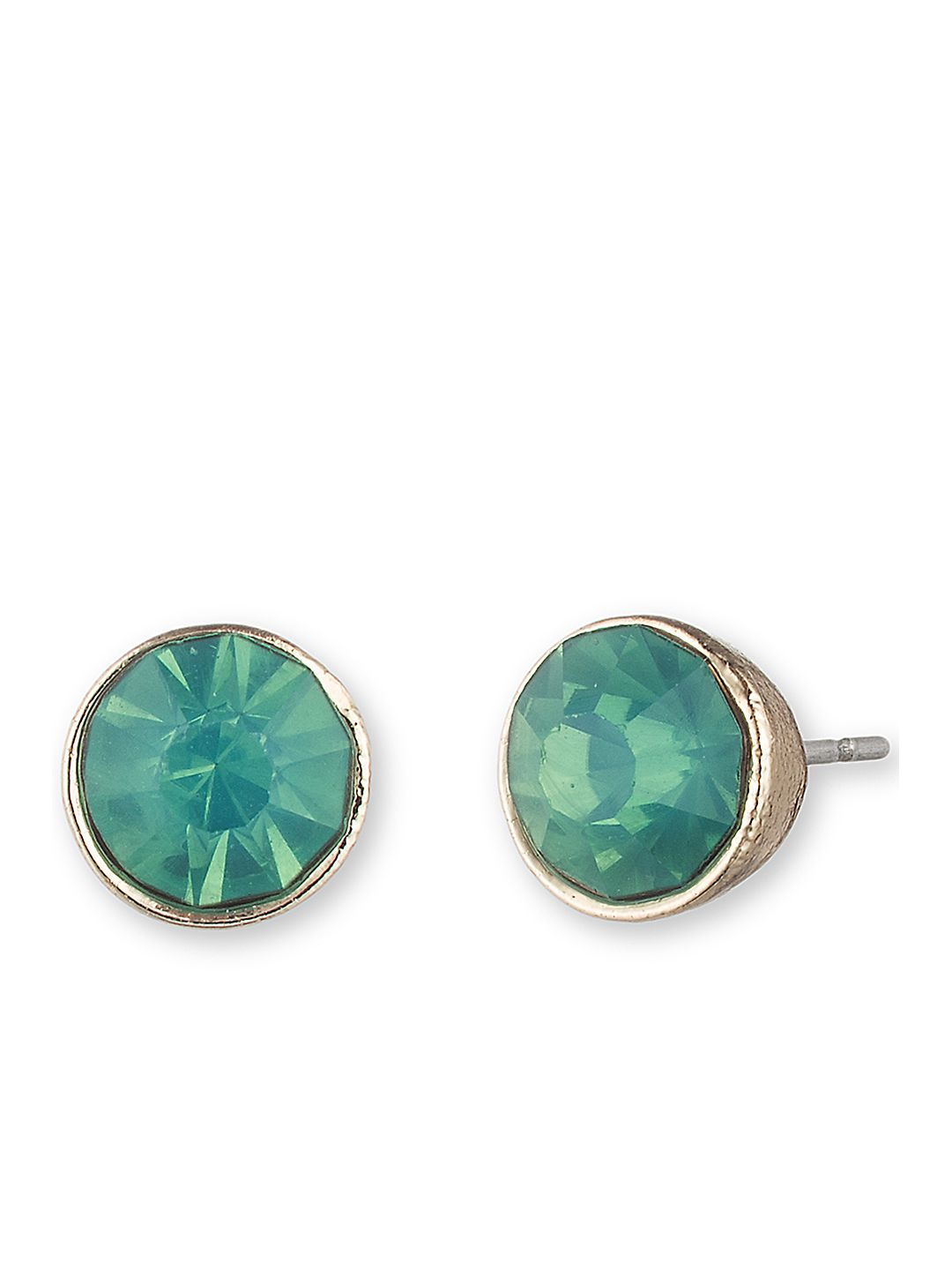 Goldtone and Aquamarine Stud Earrings