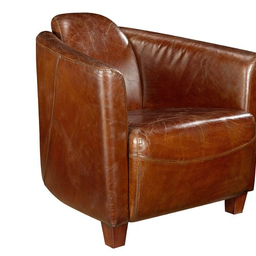 17 Stories Kailey Leather Barrel Chair