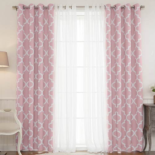 Pink Moroccan 52 x 84 In. Lace Room Darkening Window Treatments, Set of Four